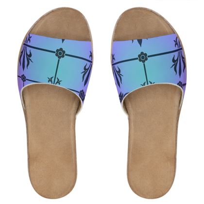 Womens Leather Sliders - Insignia Pattern 4