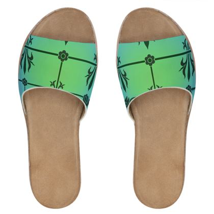 Womens Leather Sliders - Insignia Pattern 5