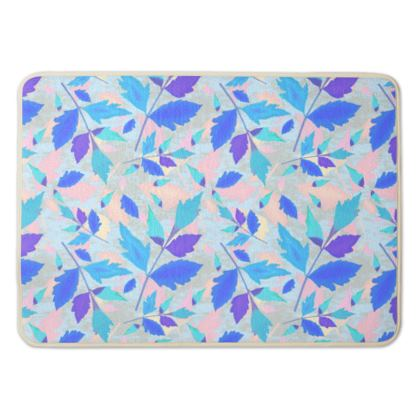 Bath Mat Blue, Pink Floral  Cathedral Leaves  Cool Spring