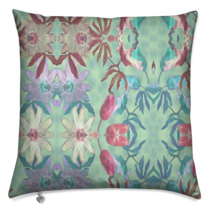 Cushions 40 cm shown, Teal, Mauve  Passion Flower  Teal Passion