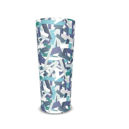 Abstract Blue White Weathered Stripe Pint Glass