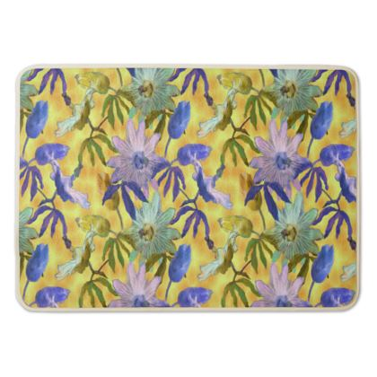 Bath Mat Yellow, Blue, Floral  Passion Flower  Radiance