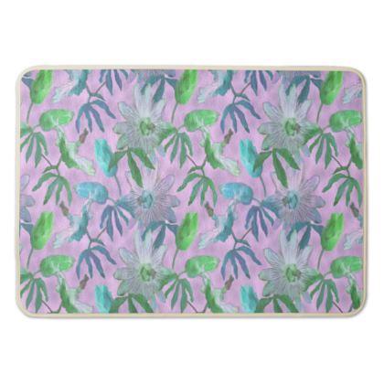 Bath Mat Mauve, Blue Floral  Passion Flower  Purple Passion