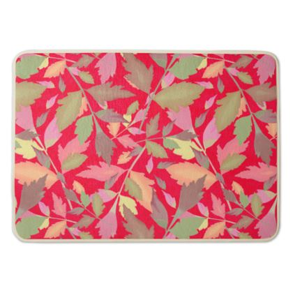 Bath Mat Red, Floral   Cathedral Leaves  Muse