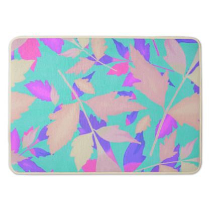 Bath Mat Turquoise, Mauve Floral  Cathedral Leaves  Turquoise Sea