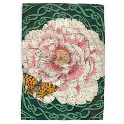 Peony and Butterfly Tea Towel