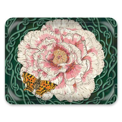 Peony and Butterfly Tray