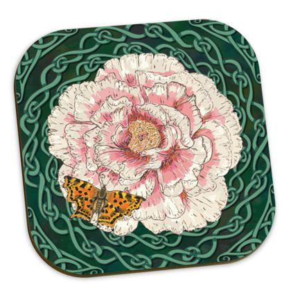 Peony and Butterfly Coasters