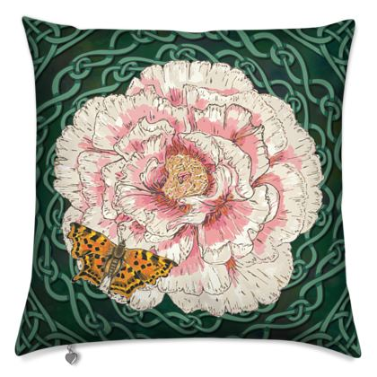 Peony and Butterfly Cushion