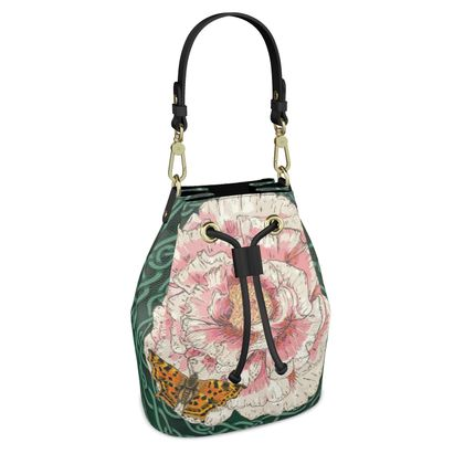 Peony and Butterfly Bucket Bag