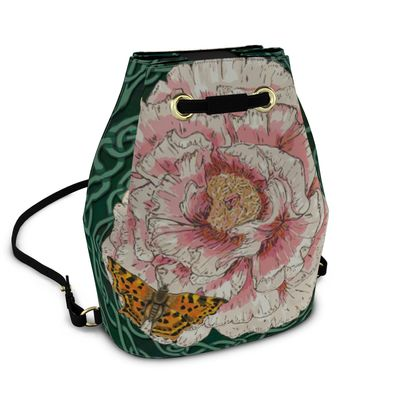 Peony and Butterfly Bucket Backpack