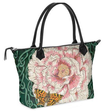 Peony and Butterfly Zip Top Handbag