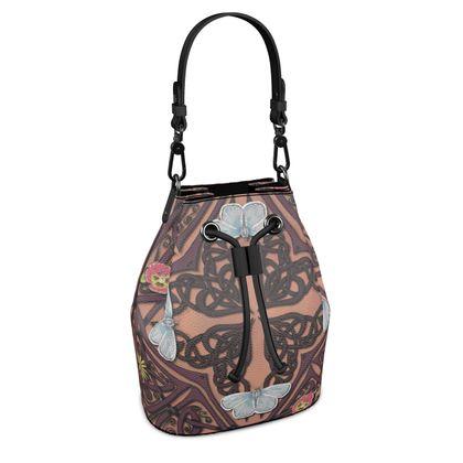 Celtic Cross Blue Butterflies Bucket Bag