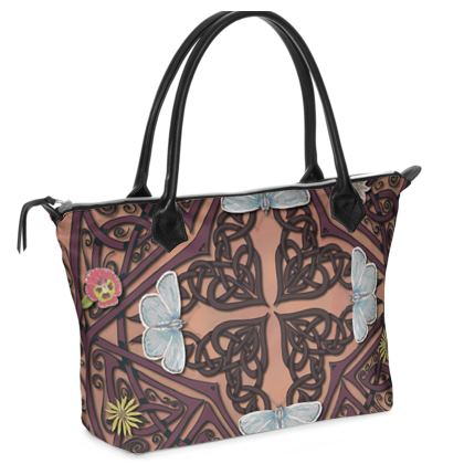 Celtic Cross Blue Butterflies Zip Top Handbag