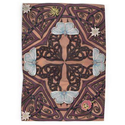 Celtic Cross Blue Butterflies Tea Towel