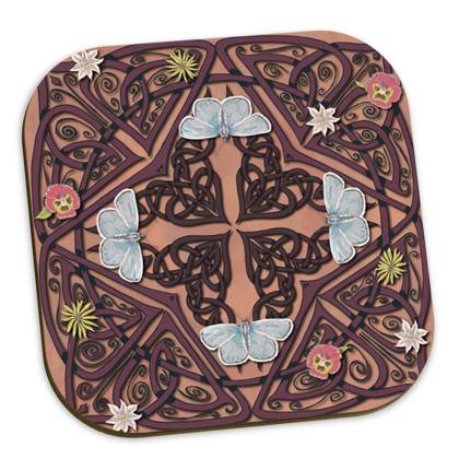 Celtic Cross Blue Butterflies Coasters