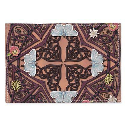 Celtic Cross Blue Butterflies Fabric Placemats