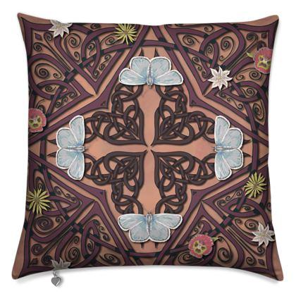 Celtic Cross Blue Butterflies Cushion