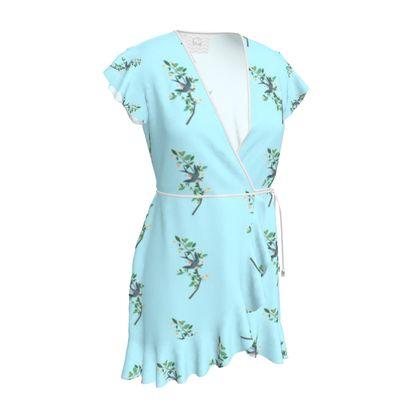 Tea Dress - Emmeline Anne Birds On a Branch Blue