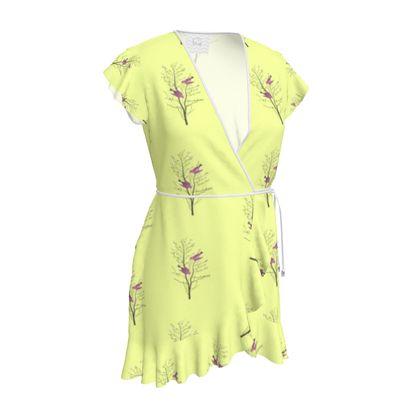 Tea Dress - Emmeline Anne Birds On a Branch Lemon