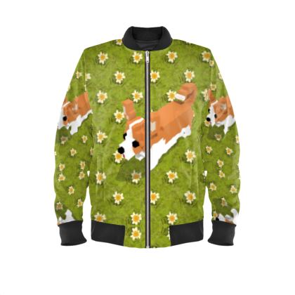 Voxel dog and the flowers  Mens Bomber Jacket