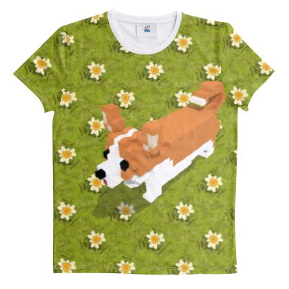 Voxel dog and the flowers Cut And Sew All Over Print T Shirt