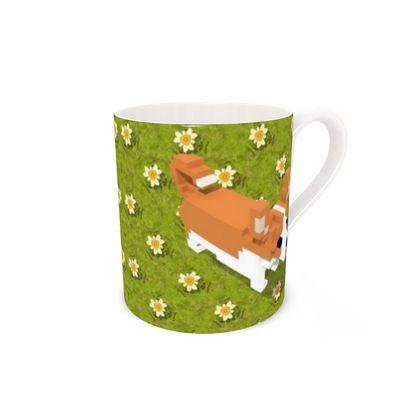 Voxel dog and the flowers Bone China Mug