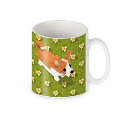 Voxel dog and the flowers Builders Mugs