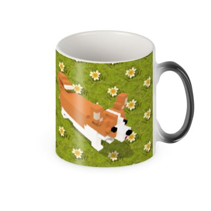 Voxel dog and the flowers Heat Changing Mug