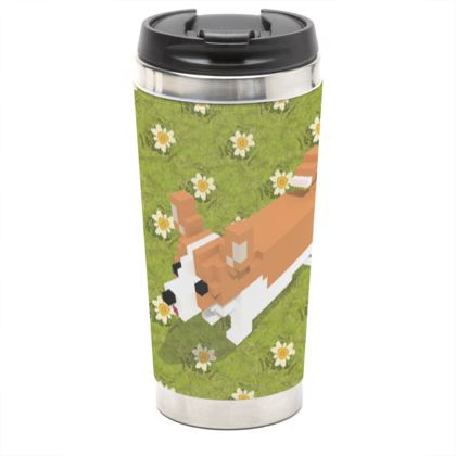 Voxel dog and the flowers Travel Mug
