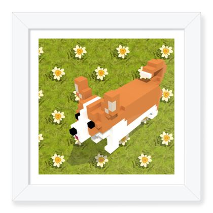 Voxel dog and the flowers Framed Art Prints