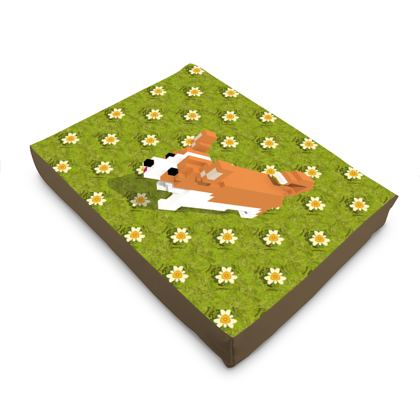 Voxel dog and the flowers Dog Pet Bed