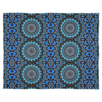 Blue Mandala Scarf Wrap Or Shawl