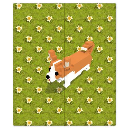 Voxel dog and the flowers Bed Sheets