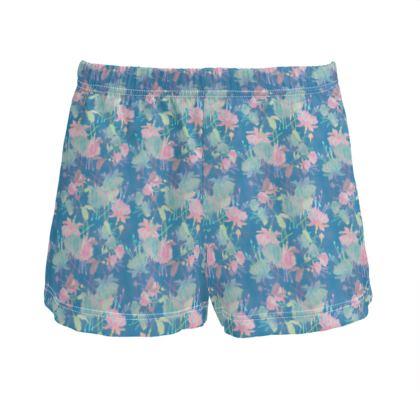 Ladies Silk Pyjama Shorts Blue, Floral  Fuchsias  Airforce