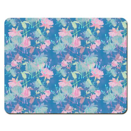 Placemats Blue, [set of 6 shown]  Floral  Fuchsias  Airforce