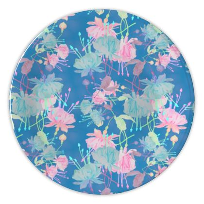 China Plates [display only] Blue, Pink Floral  Fuchsias  Airforce