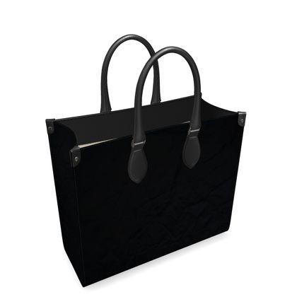 Crumpled black paper leather shopper bag
