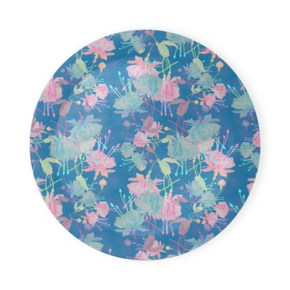 Round Coaster Trays Blue, Floral  Fuchsias  Airforce
