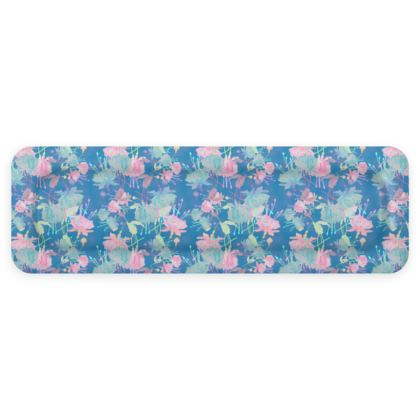 Trays [40.3 cm x 13.5 cm shown] Blue, Pink Floral  Fuchsias  Airforce