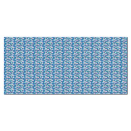 Tablecloth, 140 cm round, Blue, Pink, Floral  Fuchsias  Airforce