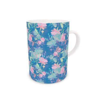 Bone China Mug Blue, Pink, Floral  Fuchsias  Airforce