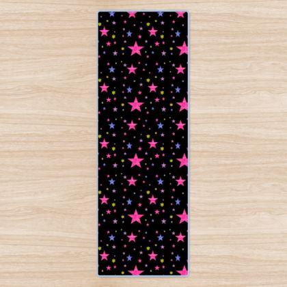 Galaxy of Stars Multi Colour on Black Cosmic Yoga Mat Designed by Kat
