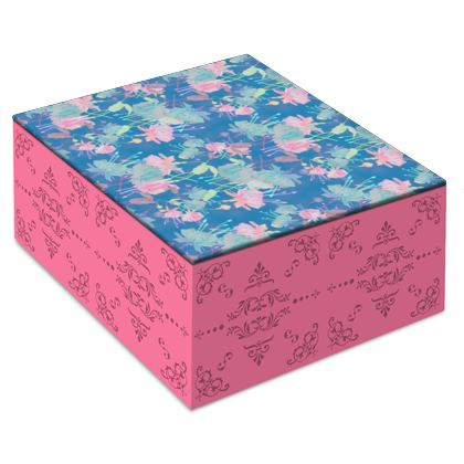 Jewellery Box [small shown] Blue, Pink, Floral  Fuchsias  Airforce