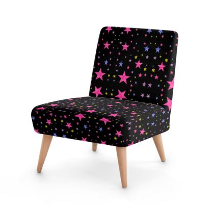Galaxy of Stars Multi Colour on Black Cosmic Occasional Chair  Designed by Kat