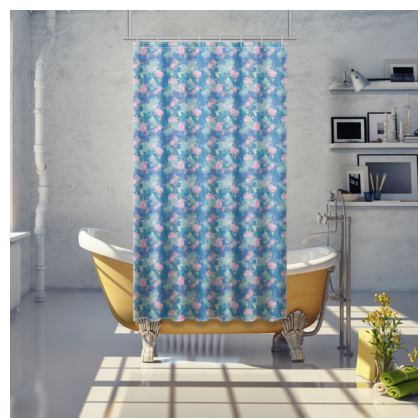 Shower Curtain [small shown] Blue, Pink Floral  Fuchsias  Airforce