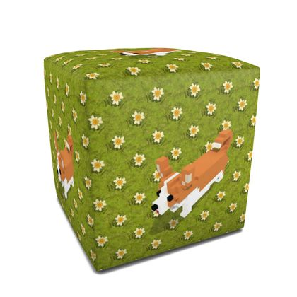 Voxel dog and the flowers Square Pouffe
