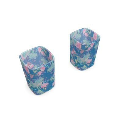 Square Shot Glass 2 Set [with tin] Blue, Pink, Floral  Fuchsias  Air force