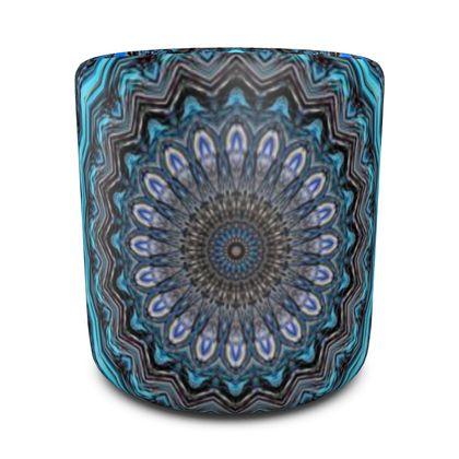 Blue Mandala Round Pouffe