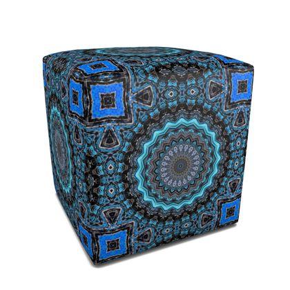 Blue Mandala Square Pouffe